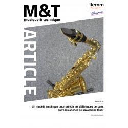 Un modèle empirique pour prévoir les différences perçues entre les anches de saxophone ténor